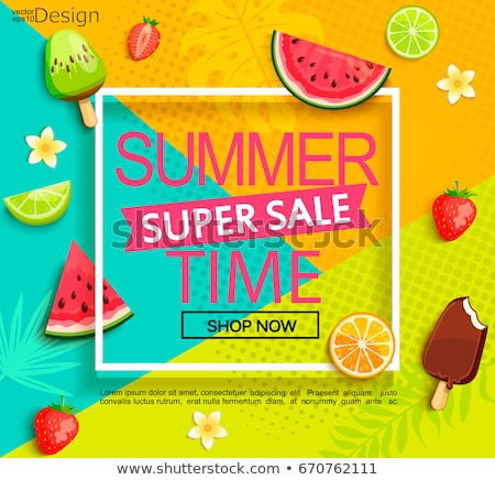 Stock photo: Summer time card with tropical fruit ice cream