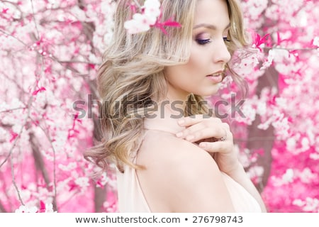 Gyönyörű aranyos gyengéd fiatal szőke nő lány Stock fotó © ElenaBatkova