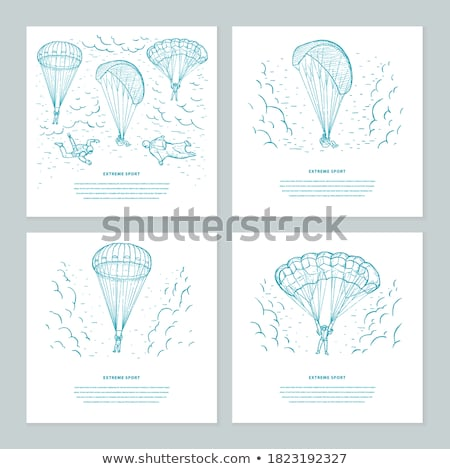 Extreme Sports Set on Poster, Skydiving Gliding Stock photo © robuart