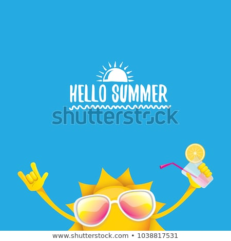 hello summer holidays poster with sun wearing sunglasses stock photo © sarts