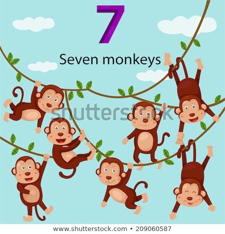 Cute małpa numer siedem ilustracja papieru Zdjęcia stock © colematt