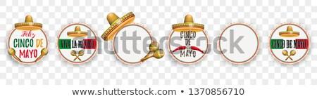 Emblem Cinco De Mayo Sombrero Maracas Transparent Stock photo © limbi007