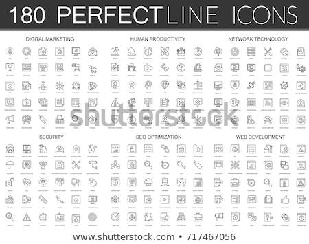 közösségi · háló · ikon · gyűjtemény · kék · vonal · ikonok · digitális - stock fotó © makyzz