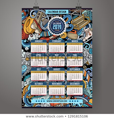 ストックフォト: Cartoon Colorful Hand Drawn Doodles Winter Sports 2019 Year Calendar Template
