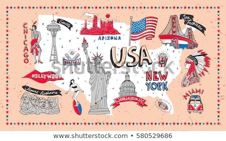 día · sello · bandera · EUA · soldado · silueta - foto stock © foxysgraphic