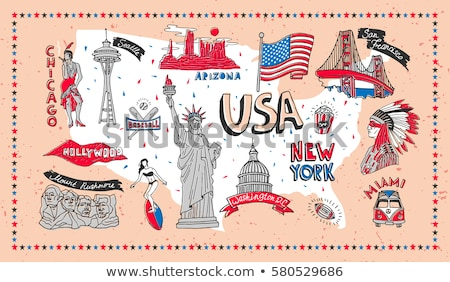 dia · carimbo · bandeira · EUA · soldado · silhueta - foto stock © foxysgraphic