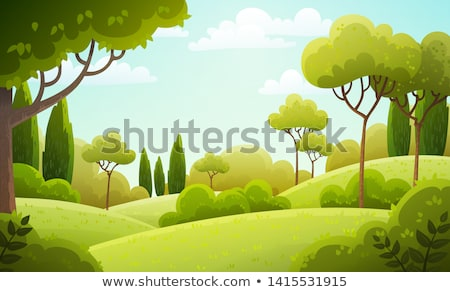 green scenery with trees bushes and grass spring stock photo © robuart