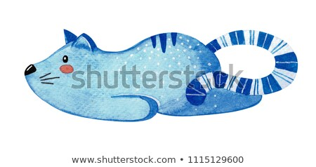 Cute lazy cat. Blue cat isolated on white background. Watercolor. Stock photo © Arkadivna