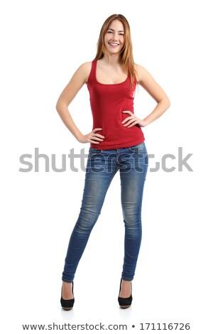 bella · ragazza · jeans · shirt · piedi · bianco - foto d'archivio © nyul
