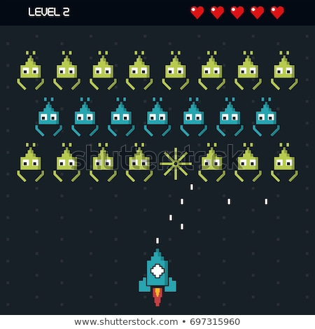 space pixel game hearts 8 bit graphics icons set stock photo © robuart