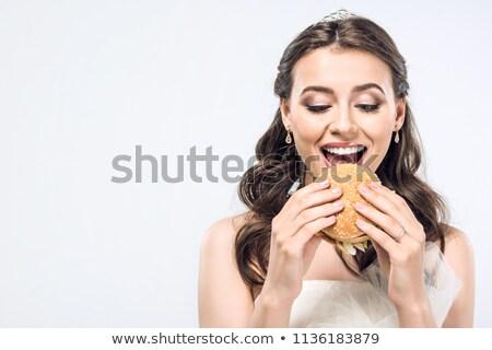Noiva fast-food burger faminto mulher Foto stock © studiostoks