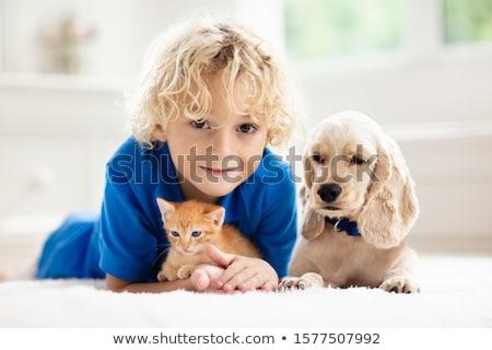 Children and pet dog in bedroom Stock photo © bluering