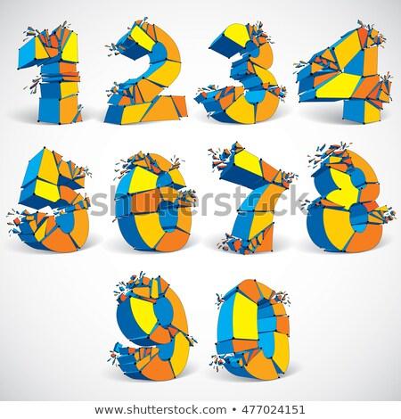 Stok fotoğraf: Three Colors Line Font Number 9 Nine 3d