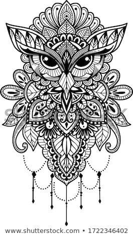 декоративный · совы · крыльями · татуировка · птица · Перу - Сток-фото © ensiferrum