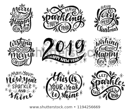 Retro Christmas and new year quote label set Stock photo © cienpies