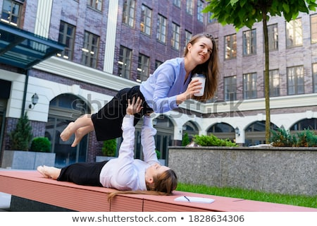 Stock fotó: Two Male Performing Acroyoga