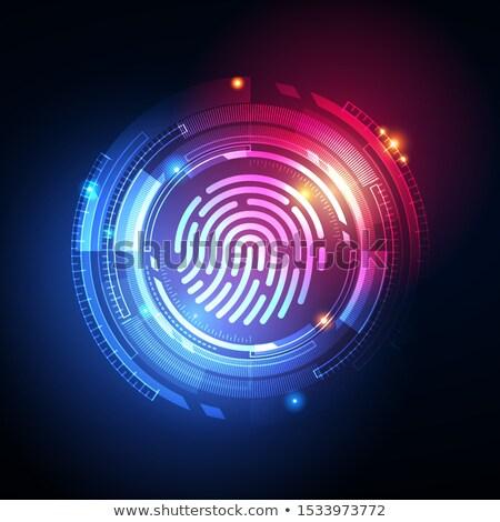 Fingerprint Biometric Identity And Approval Concept Vector Illustration Foto stock © Tashatuvango