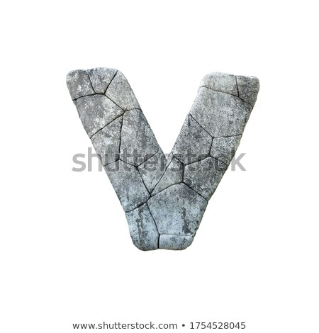 Concrete fracture font Letter V 3D Stock photo © djmilic