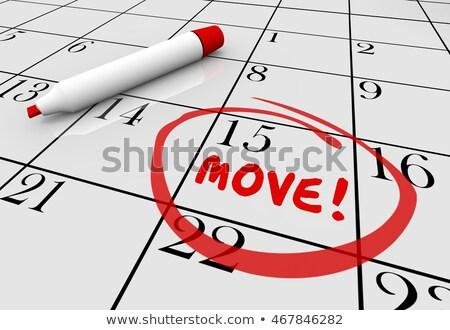 Jour du déménagement texte calendrier vue faible carton Photo stock © AndreyPopov