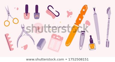 manikűrös · kézzel · rajzolt · firkák · illusztráció · manikűr · poszter - stock fotó © balabolka