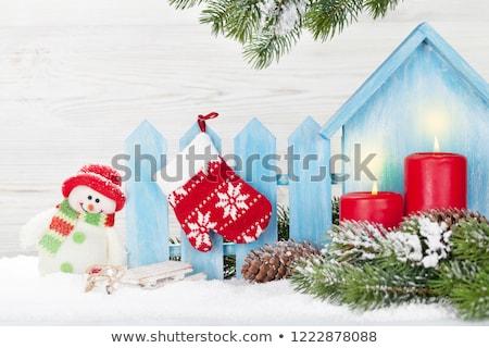 Karácsony hóember szánkó játékok fenyőfa ág Stock fotó © karandaev