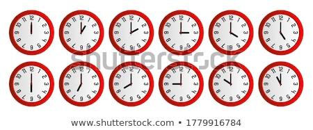 Análogo parede relógio isolado branco escritório Foto stock © szefei