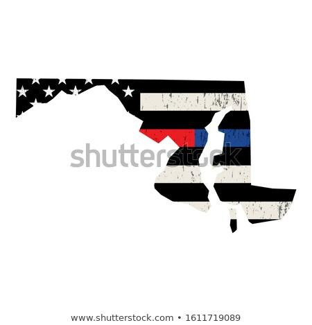 Maryland policji strażak wsparcia banderą amerykańską flagę Zdjęcia stock © enterlinedesign