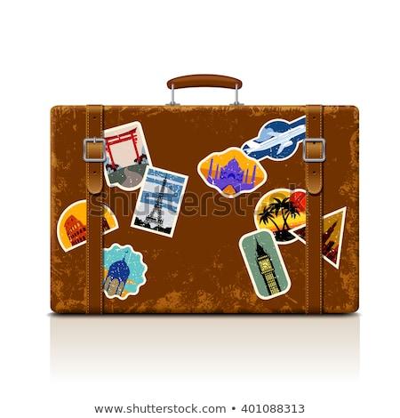 Reise Gepäck Aufkleber Plakat Vektor alten Stock foto © pikepicture