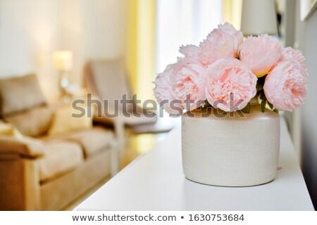 Dość różowy kolor kwiaty biały Wazon Zdjęcia stock © amok