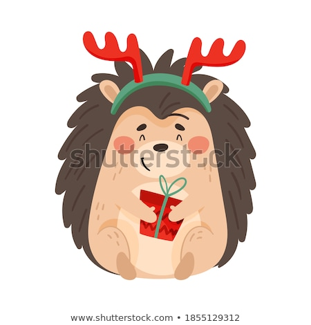 Merry Christmas Hedgehog in Winter Forest Vector Stock photo © robuart