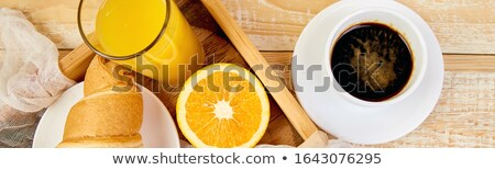 Banner of Good morning. Continental breakfast on ristic wooden background. Stock photo © Illia