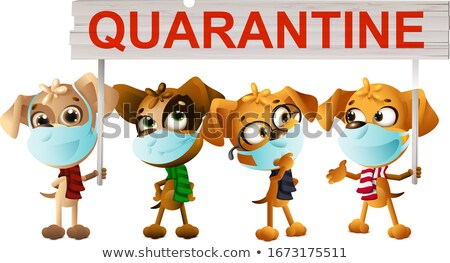 dogs in medical masks holding quarantine poster quarantine coronavirus stock photo © orensila