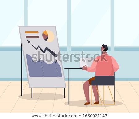 Worker Female Researching Growth Graph Plan Vector Stock photo © robuart