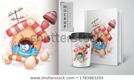 Kuş kahve poster vektör eps 10 Stok fotoğraf © rwgusev