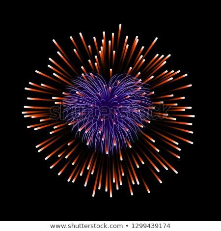 Dois roxo corações fogos de artifício feliz dia dos namorados Foto stock © ShustrikS