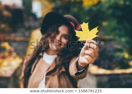 Ritratto ragazza foglia d'acero autunno parco infanzia Foto d'archivio © dolgachov