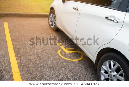 niebieski · handicap · podpisania · parking · Francja · drogowego - zdjęcia stock © deyangeorgiev