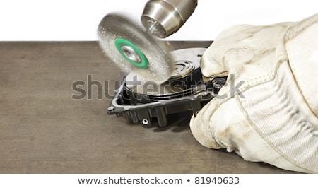 Karcolás ecset takarítás merevlemez acél nyitva Stock fotó © gewoldi