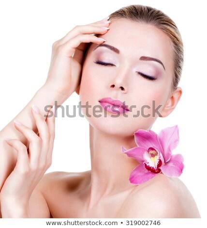 Közelkép gyönyörű arc orchidea virág fehér Stock fotó © Anna_Om