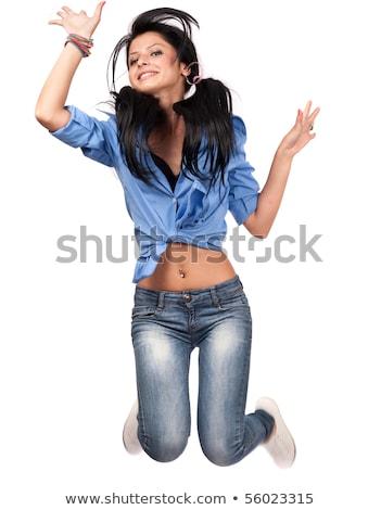 Gelukkig tiener schoolmeisje leuk mooie Stockfoto © darrinhenry