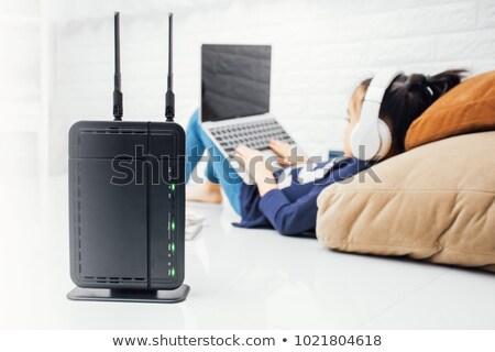 azul · internet · banda · larga · router · isolado · branco - foto stock © gewoldi