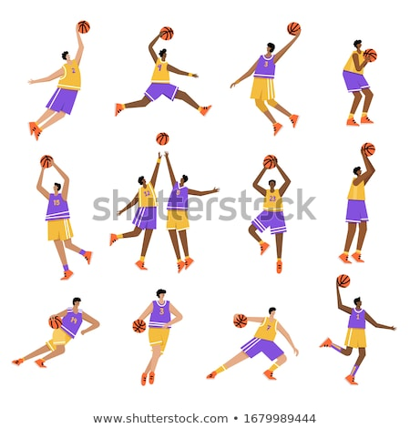 Сток-фото: Basketball Player Cartoon Dribbling Basketball Vector Illustrati