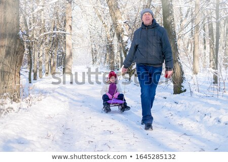 Man playing with his granddaughter in the snow Stock photo © photography33