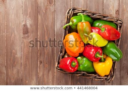 Narancs paprika vágódeszka kép fából készült étel Stock fotó © gregory21