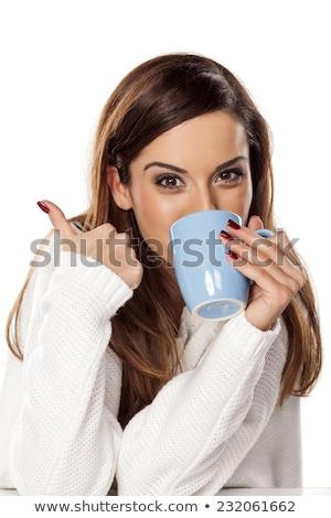 Woman drinking coffee happy thumbs up Stock photo © Ariwasabi