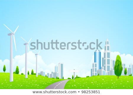 Green Landscape with Wind Power Station Road and Modern City Stock photo © WaD