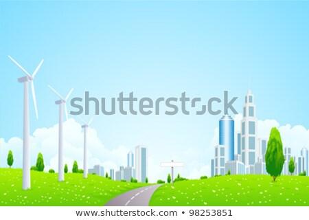 verde · paisagem · cidade · usina · negócio · nuvens - foto stock © wad