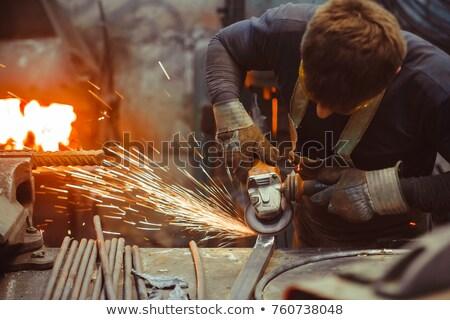 építőmunkás · fa · férfi · kaukázusi · biztonsági · szemüveg · munkavédelmi · sisak - stock fotó © photography33