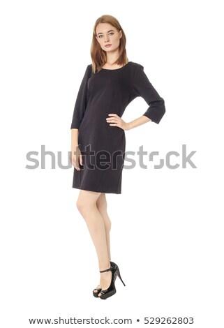 belo · sorridente · morena · vestido · preto · isolado · branco - foto stock © artjazz