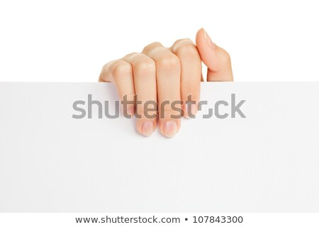 Stock photo Woman hand holding empty visiting card isolated on white